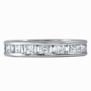 SALENTO Channel Set Princess & Baguette Cut Full Eternity Rings