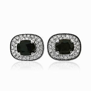 Green Sapphire and Diamond Cufflinks