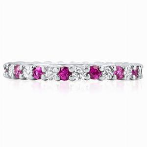 MONDELLO Claw Set Coloured Stone & Diamond Full Eternity Rings