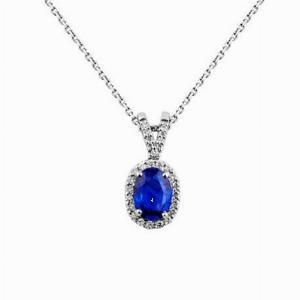 Sapphire & Diamond Cluster Pendant 0.50ct
