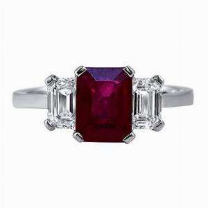 Octagon Ruby & Emerald Cut Diamond Three Stone
