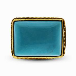 22ct Yellow Gold Oblong Turquoise Dress Ring
