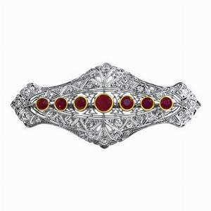 Art Deco Diamond & Natural Burma Ruby Brooch