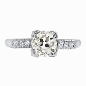 Old Cut Diamond Platinum Solitaire Engagement Ring - 0.86ct