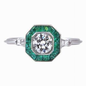 Old Cut Diamond & Emerald Target Ring
