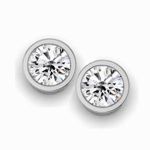 Brilliant Cut Rub Over Diamond Studs - 1.52ct - F VS