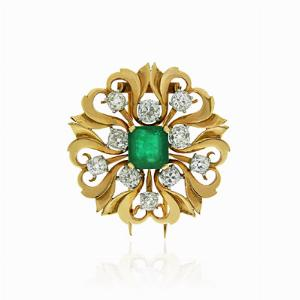 French Old Cut & Octagon Emerald Gold Brooch