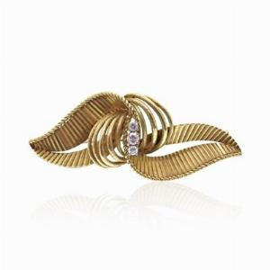 Diamond Set Leaf Brooch
