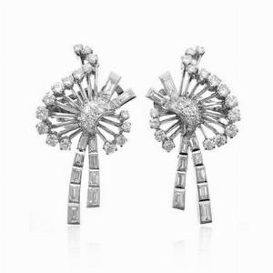 Brilliant Cut & Baguette Diamond Earrings