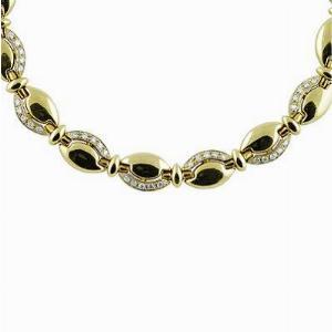Diamond Studded Gold Link Necklace