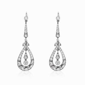 Deco Style Brilliant Cut Diamond Drop Earrings