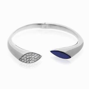 18ct White Gold Diamond & Lapis Lazuli Bangle