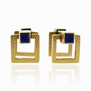 18ct Gold Lapis Lazuli Cufflinks