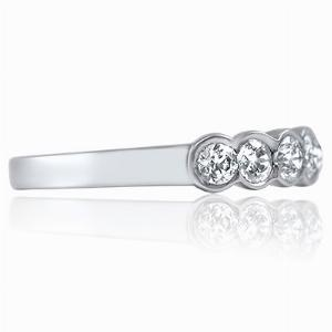 VERONA Rub-Over Set Brilliant Cut Half Commitment Rings