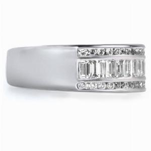 BIELLA Channel Set Princess Cut Or Baguette Cut Brilliant Cut Half Commitment Rings