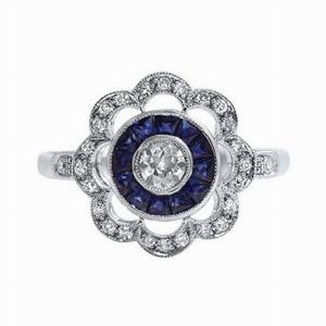 Old Cut Diamond & Sapphire Cluster Ring - 0.50ct