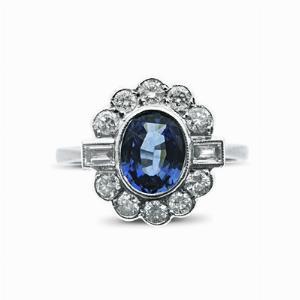 Sapphire & Diamond Cluster Ring - 1.50ct
