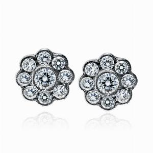 Diamond Cluster Earrings 0.95cts