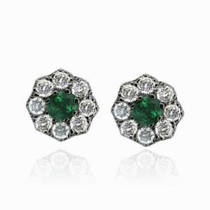 Emerald & Diamond Cluster Studs