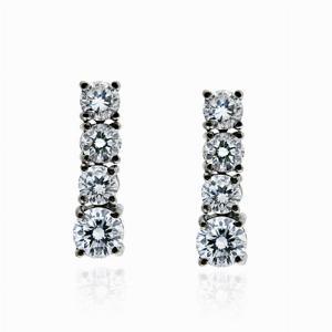 4 Stone Diamond Drop Earrings