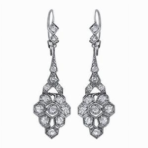 Art Deco Platinum Diamond Drop Earrings - 0.75ct Approx.