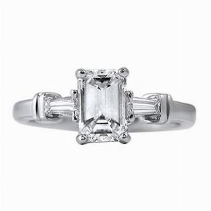 Emerald Cut & Tapered Baguette Engagement Ring 0.90ct - G VS1 - Anchor