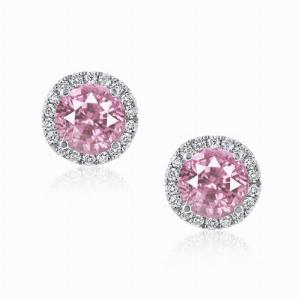Pink Sapphire & Diamond Micro Set Halo Stud Earrings