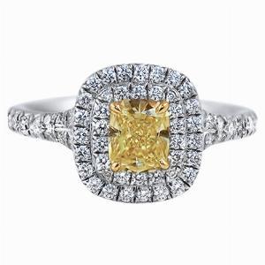 0.56ct Fancy Vivid Yellow Cushion Cut Diamond Cluster Ring