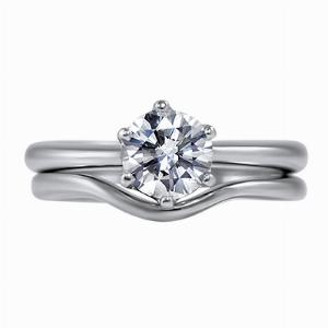 Brilliant Cut Solitaire Diamond Ring and Curved Wedding Ring Set