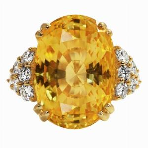Natural Oval Yellow Sapphire Dress Ring - 33.97ct