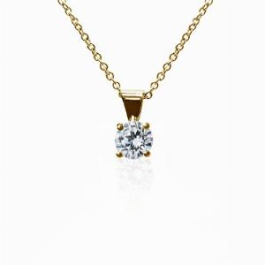 18ct Yellow Gold 0.15ct Brilliant Cut Four Claw Diamond Pendant G SI1