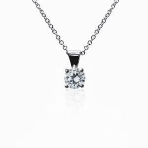 18ct White Gold 0.15ct Brilliant Cut Four Claw Diamond Pendant