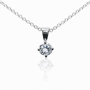 18ct White Gold 0.15ct Brilliant Cut Four Claw Diamond Pendant G SI1