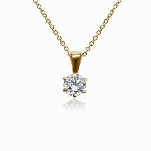 18ct Yellow Gold 0.15ct Brilliant Cut Six Claw Diamond Pendant G SI1