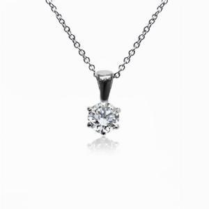 18ct White Gold 0.15ct Brilliant Cut Six Claw Diamond Pendant G SI1