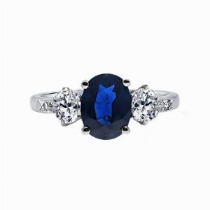 Vintage Platinum Oval Sapphire & Diamond Three Stone Engagement Ring - 1.50ct