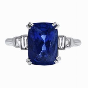 Cushion Cut Sapphire & Step Down Baguette Ring - 4.32ct