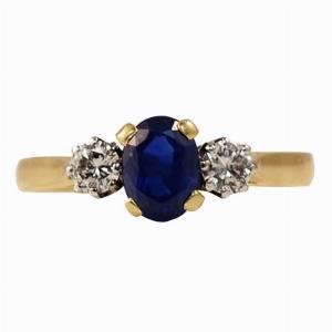 Sapphire & Diamond Three Stone Ring - 1.50ct