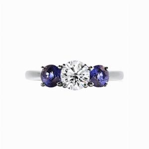 Inverse Sapphire & Diamond Three Stone Ring