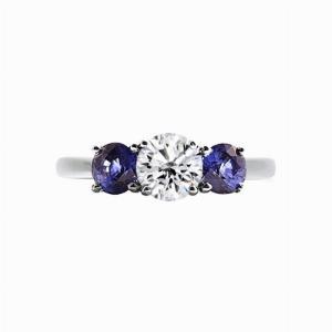 Inverse Sapphire And Round Brilliant Cut Diamond Three Stone Ring - 0.80ct