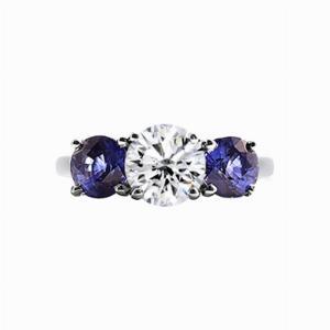 Inverse Sapphire And Round Brilliant Cut Diamond Three Stone Ring - 1.20ct
