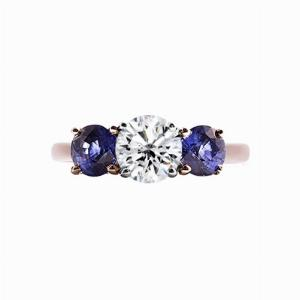 Inverse Sapphire And Round Brilliant Cut Diamond Three Stone Ring - 1.00ct