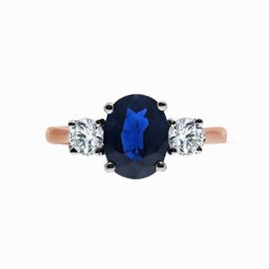 Rose Gold Oval Sapphire & Round Brilliant Cut Diamond Three Stone Engagement Ring - 1.50ct