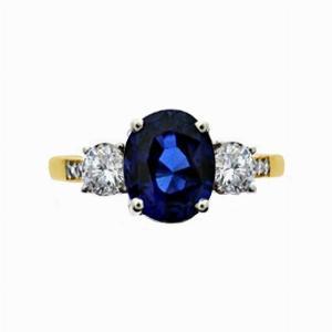 Vintage Oval Sapphire & Diamond Three Stone Engagement Ring - 2.00ct