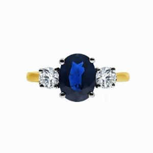 Yellow Gold Oval Sapphire & Round Brilliant Cut Diamond Three Stone Engagement Ring - 1.50ct