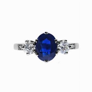 6 Claw Oval Sapphire & Diamond Three Stone Ring