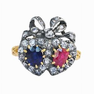 Victorian Ruby & Sapphire Sweetheart Ring