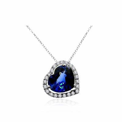 Sapphire Heart Shape & Diamond Pendant 3.00ct