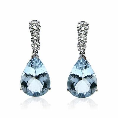 Aquamarine & Brilliant Cut Diamond Drop Earrings 6ct
