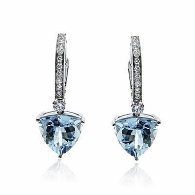 Aquamarine & Brilliant Cut Diamond Drop Earrings 4.27ct